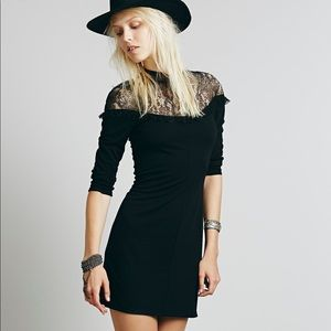 Free People black lace bodycon dress